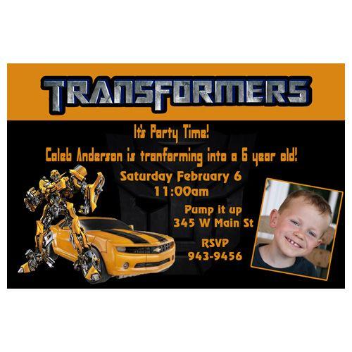 Transformers Bumblebee Custom Photo Birthday Invitation Owen Rd - Birthday invitation wording 11 year old boy