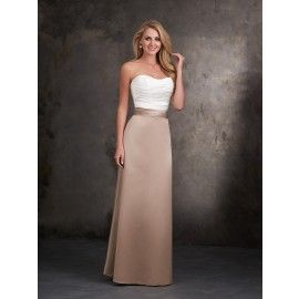 Allure 1401 Satin Strapless Two-Tone A-line Dress