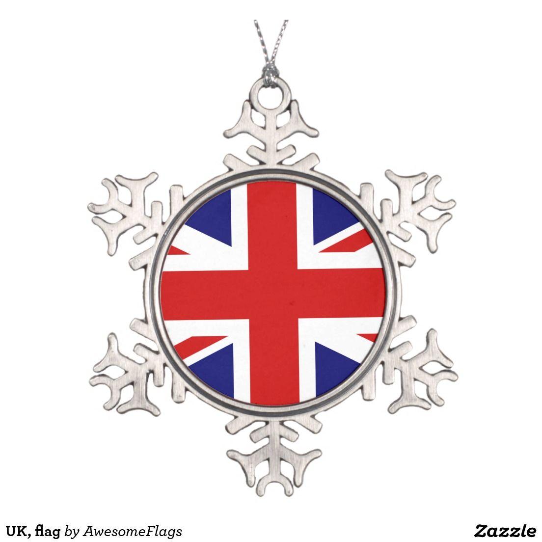 UK, flag Snowflake Pewter Christmas Ornament   Flags for Christmas ...