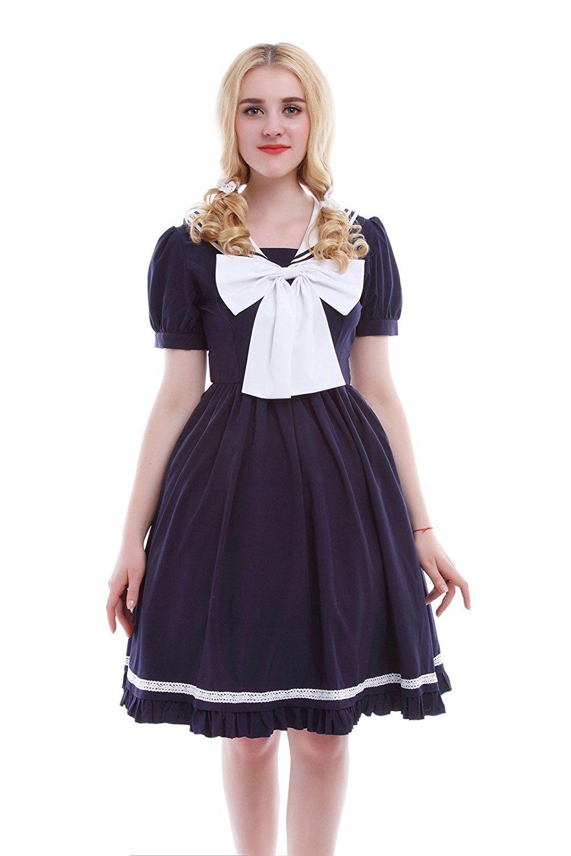 Lemail wig womens dark blue chiffon navy sailor short