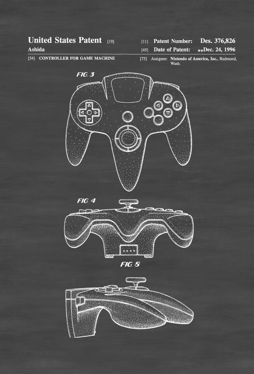 nintendo 64 controller patent patent print wall decor nintendo art nintendo poster nintendo 64 poster nintendo patent nintendo 64 [ 1021 x 1500 Pixel ]