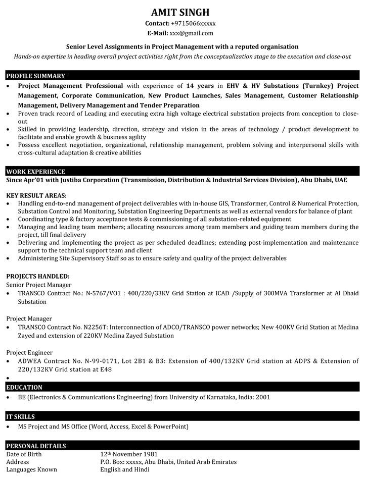 Project Manager Resume Samples Project manager resume