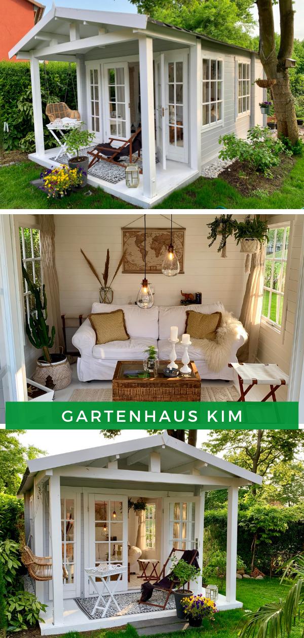 Gartenhaus Ideen: Die großen Fenster des Gartenhaus Kim fluten den Innenraum mit Tageslicht. Mit der richtigen Gartenhaus Einrichtung können Sie dort stundenlang verweilen und gemütliche Stunden verbringen. Unser Kunde hat dieses Gartenhaus modern gestaltet und zusätzlich die Terrasse und das Vordach montiert.