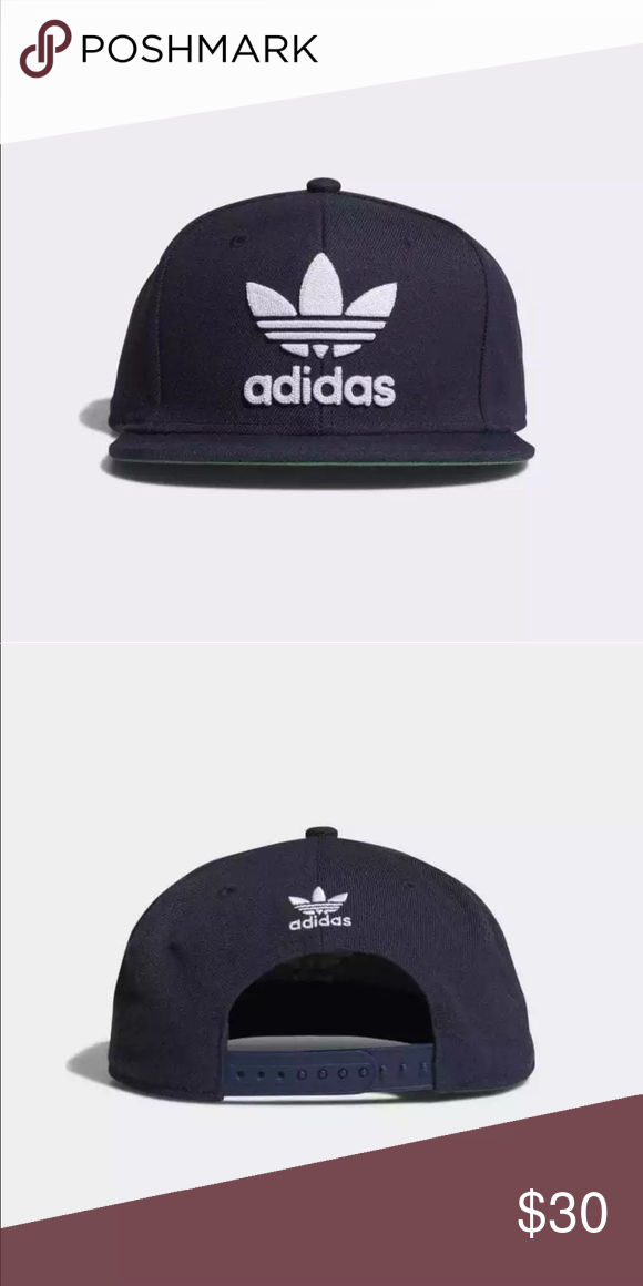 d663a64b2f0 NWT adidas Black white trefoil snap back hat cap adidas Men s Originals  Snapback Flatbrim Cap black White One Size Brand new with tags