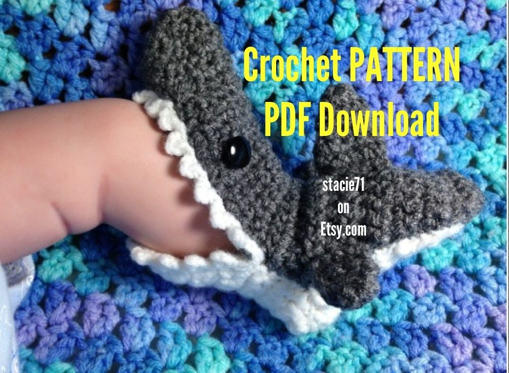 PATTERN for crocheted Shark Slipper Socks- Baby, Child, and Adult ...
