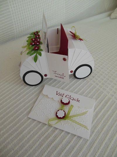 Hochzeitskarten  Hochzeitsauto mit kleiner Grukarte