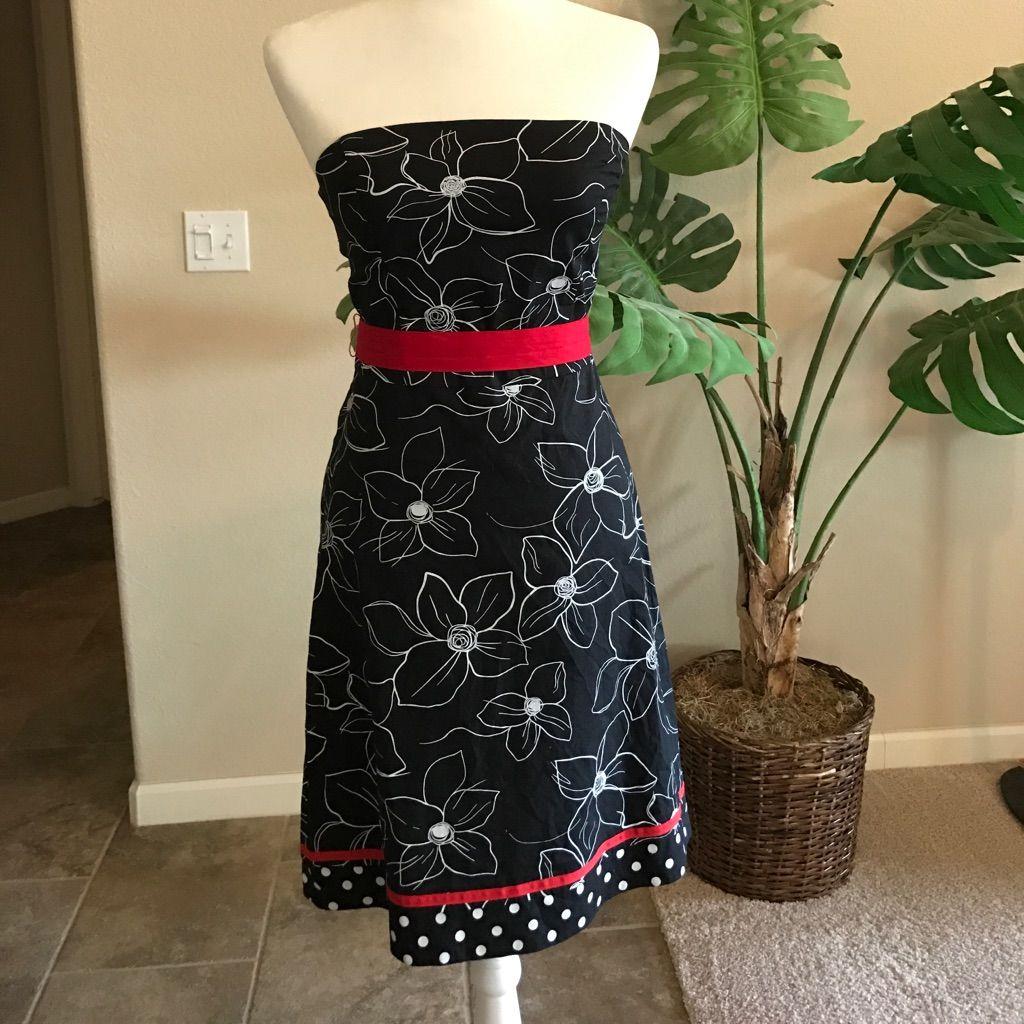 Tea length wedding dress patterns to sew  Black  White Retro Floral Print Dress W Red Trim  Retro floral