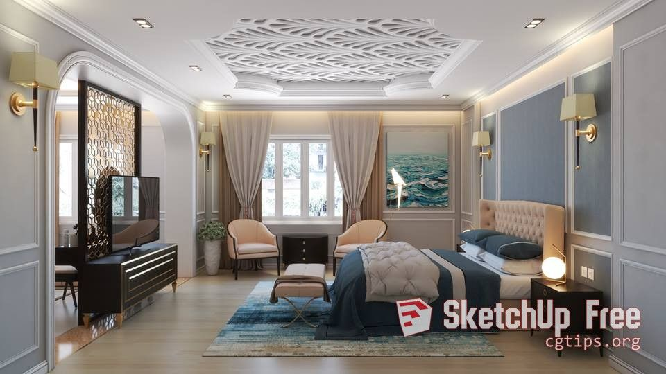 1165 Interior Bedroom Scene Sketchup Model By Duy Vu Free Download