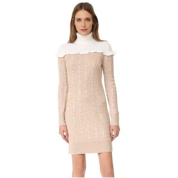 Club Monaco Panthea Dress (€230) ❤ liked on Polyvore featuring dresses, latte, pink turtleneck, long sleeve dress, ruffle dress, cable knit sweater dress and long sleeve turtleneck