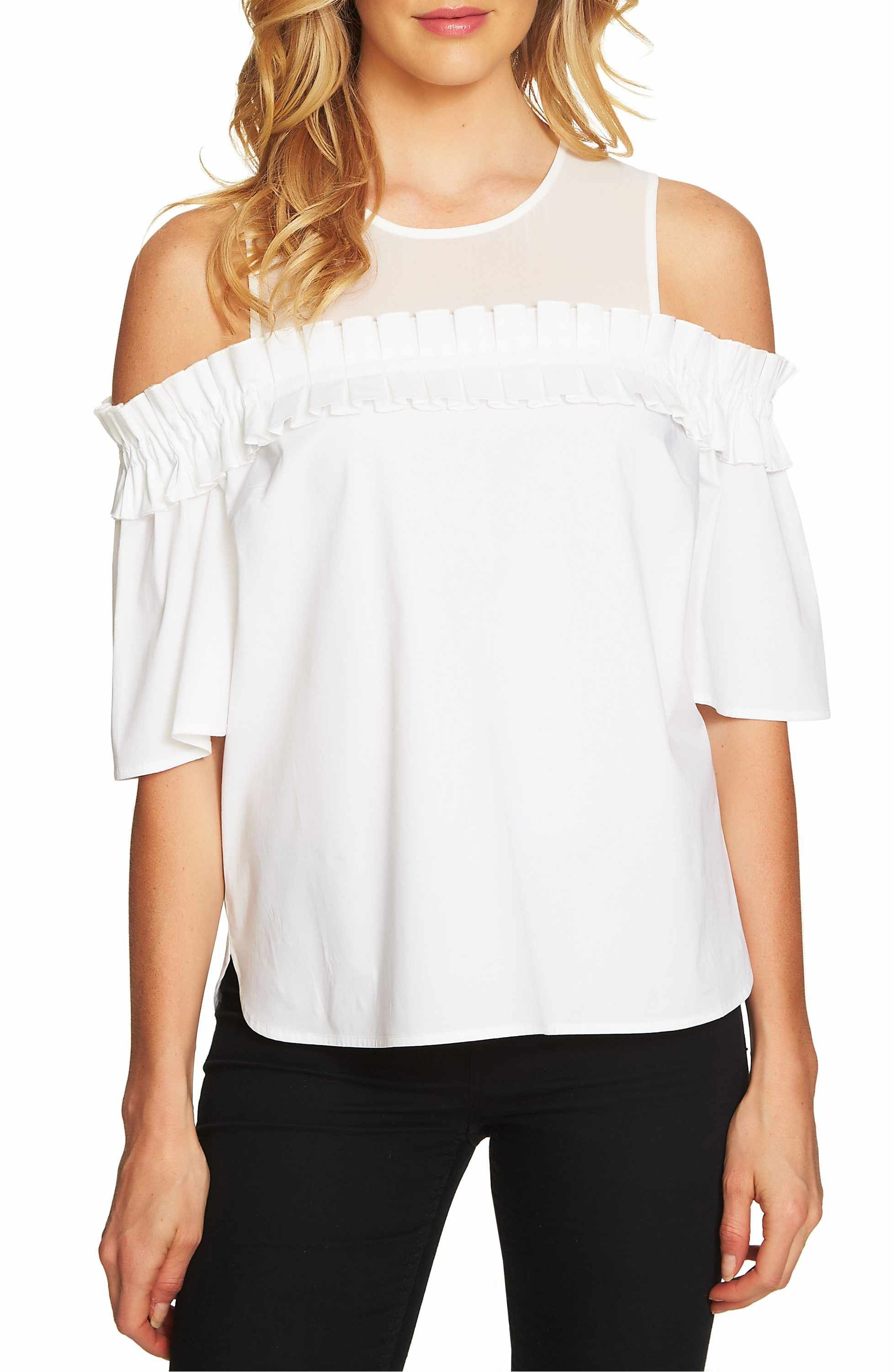 45f3d7150bbea2 Main Image - CeCe Chiffon Yoke Cold Shoulder Top | Have to be in my ...