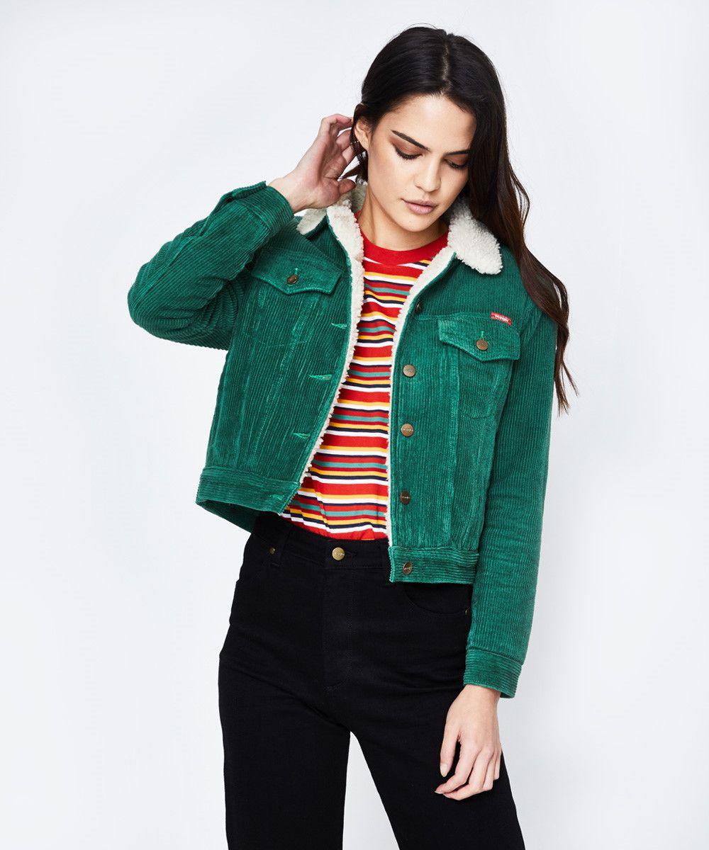 Wrangler Bayou Trucker Cord Jacket Slick Green Jackets Clothing Shop Womens General Pants Co Green Jacket Outfit Clothes Shopping Outfit [ 1200 x 1000 Pixel ]