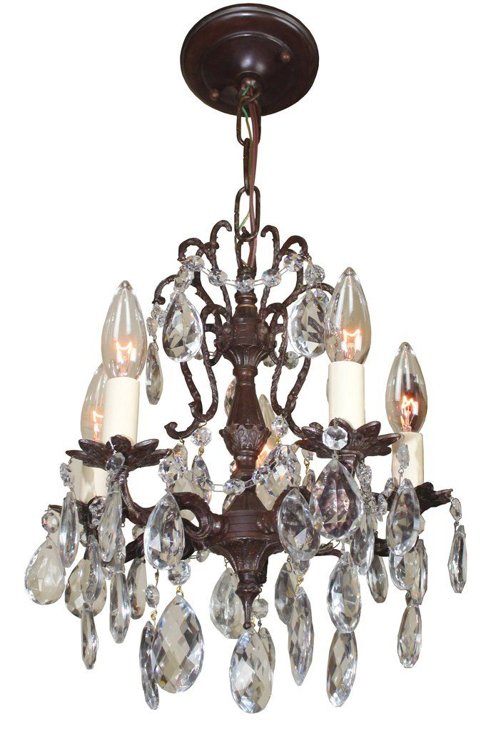 Antique Circa 1930 Cast Brass and Crystal Petite Spanish Chandelier - Antique Circa 1930 Cast Brass And Crystal Petite Spanish Chandelier