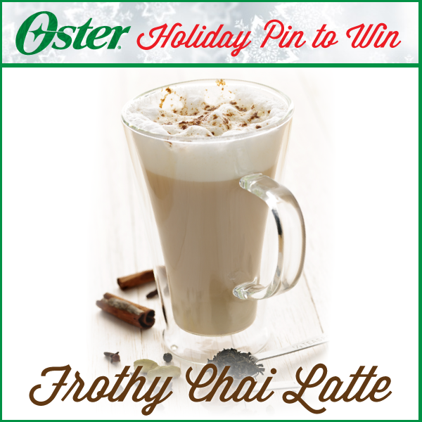 Keep warm this holiday season with a Frothy Chai Latte, made with your Oster® Blender! Visit http://on.fb.me/1Ao902I to pin this recipe (or other holiday favorites) for your chance to win a Oster® Beehive Blender! Sweepstakes ends 12/31/14. #Oster #blender #holiday #recipe #latte #chai #pintowin #sweepstakes