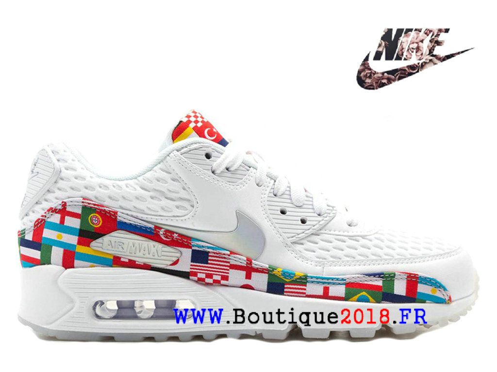 buy online 75045 a3cd7 Nike Air Max 90 2018 Gs Drapeau international Sports Chaussures Femme Rouge  blanc AO5119-100