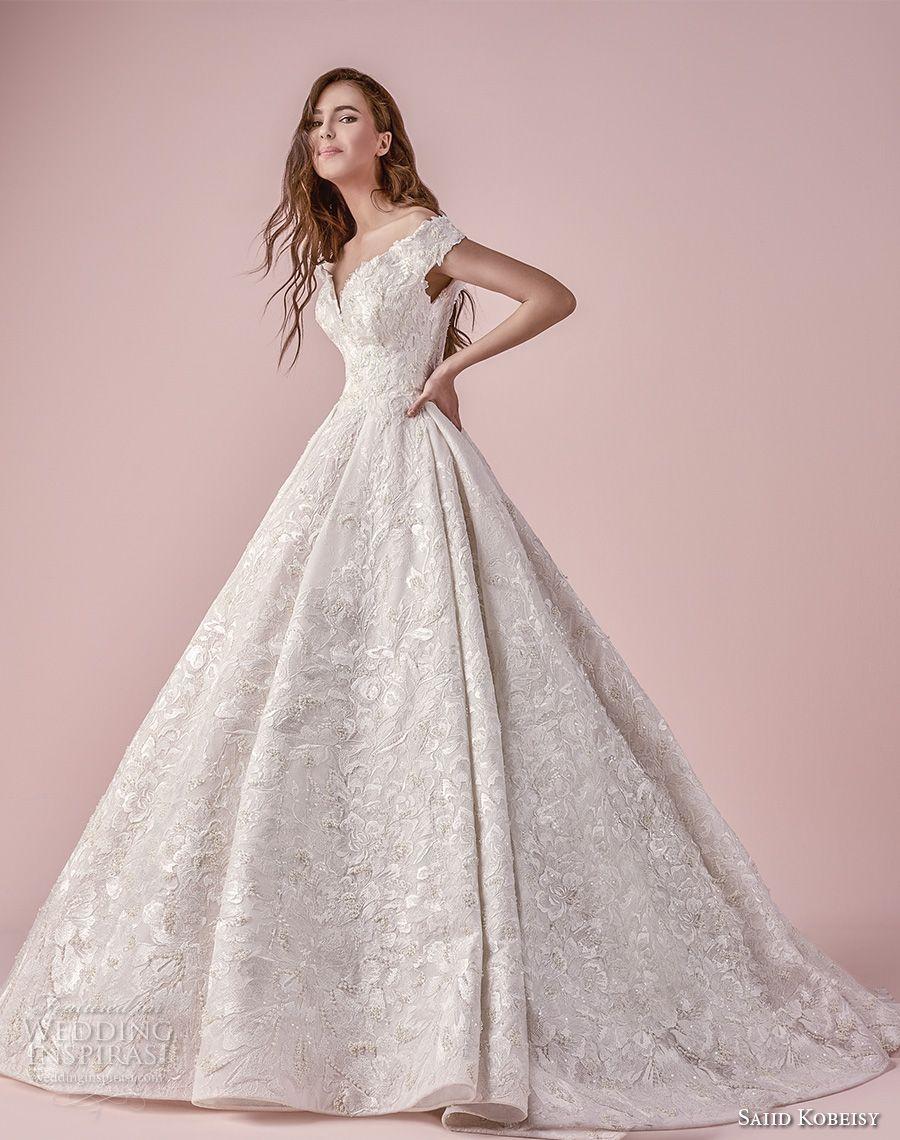 9ebcac7308790 saiid kobeisy 2018 bridal off the shoulder v neck full embellishment  princess a line wedding dress (3269) mv