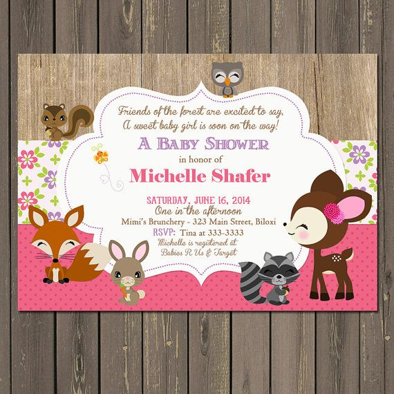 woodland baby shower invitation, baby girl woodland animal baby, Baby shower invitations