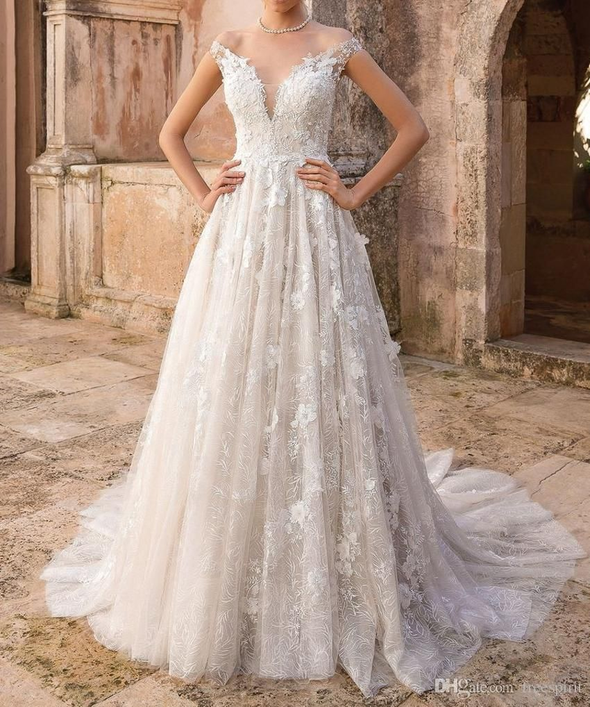 Wholesale Cheap Plus Size Wedding Dresses Wedding Dresses On Line And Wedding Dresses Shops On Dhgat Floral Wedding Dress Wedding Dresses Lace Wedding Dresses