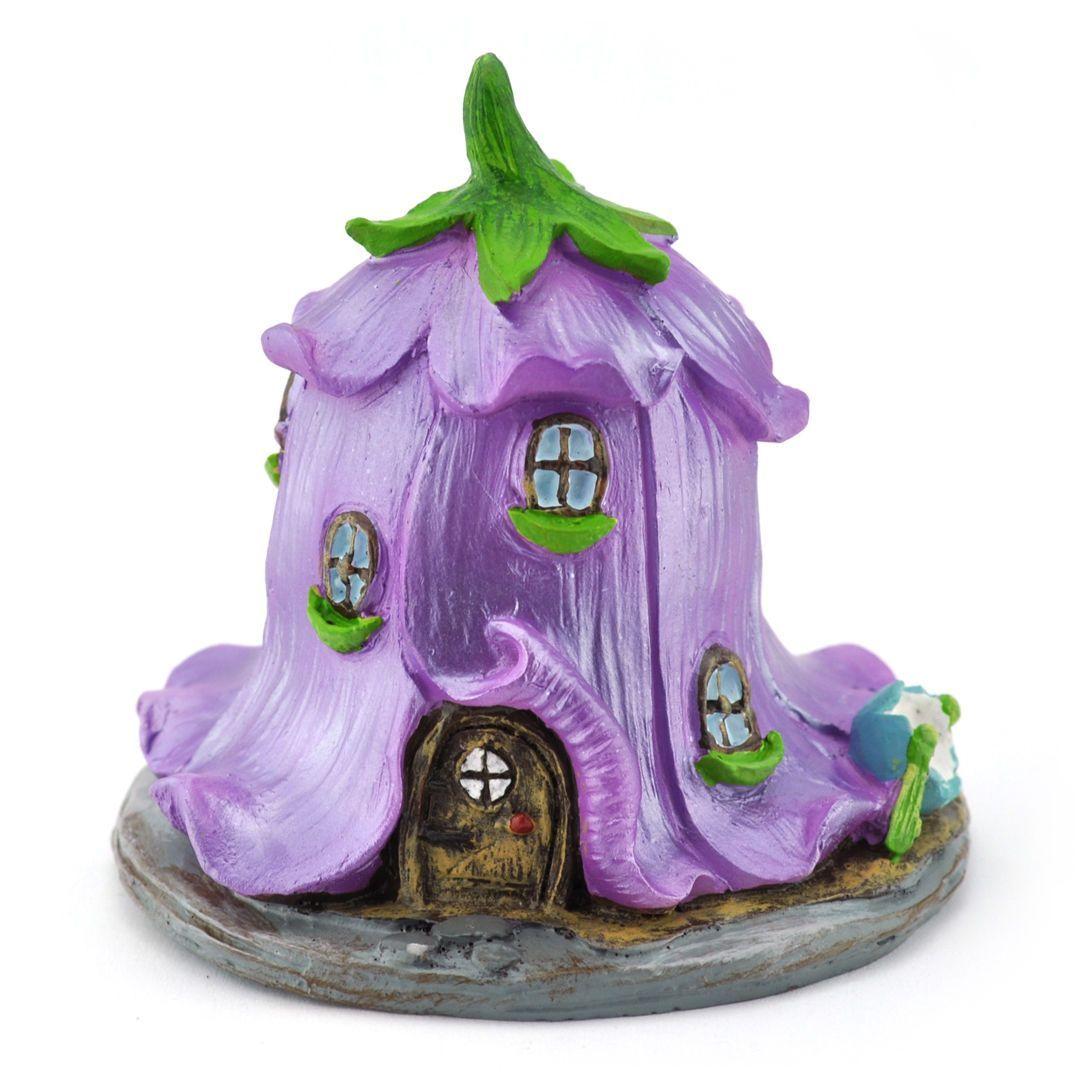 Miniature Fairy Garden Canterbury Bell Flower Fairy House Violet Clay Fairy House Miniature Fairy Gardens Polymer Clay Fairy