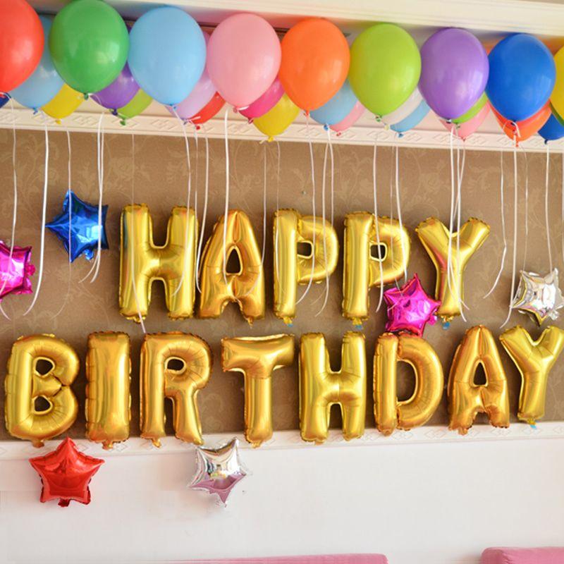 Aluminum Foil Membrane Happy Birthday Silver Gold Set Nice Font B Hot B Font Sales Party Jpg Verjaardagsballonnen Ballon Verjaardag Verjaardagsfeest Decoratie