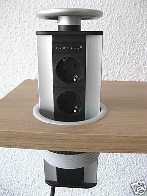 Evoline Power Port Silber 3 Fach Steckdose Versenkbare Tischsteckdose Mulleimer Einbau Mehrfachsteckdose Steckdosen