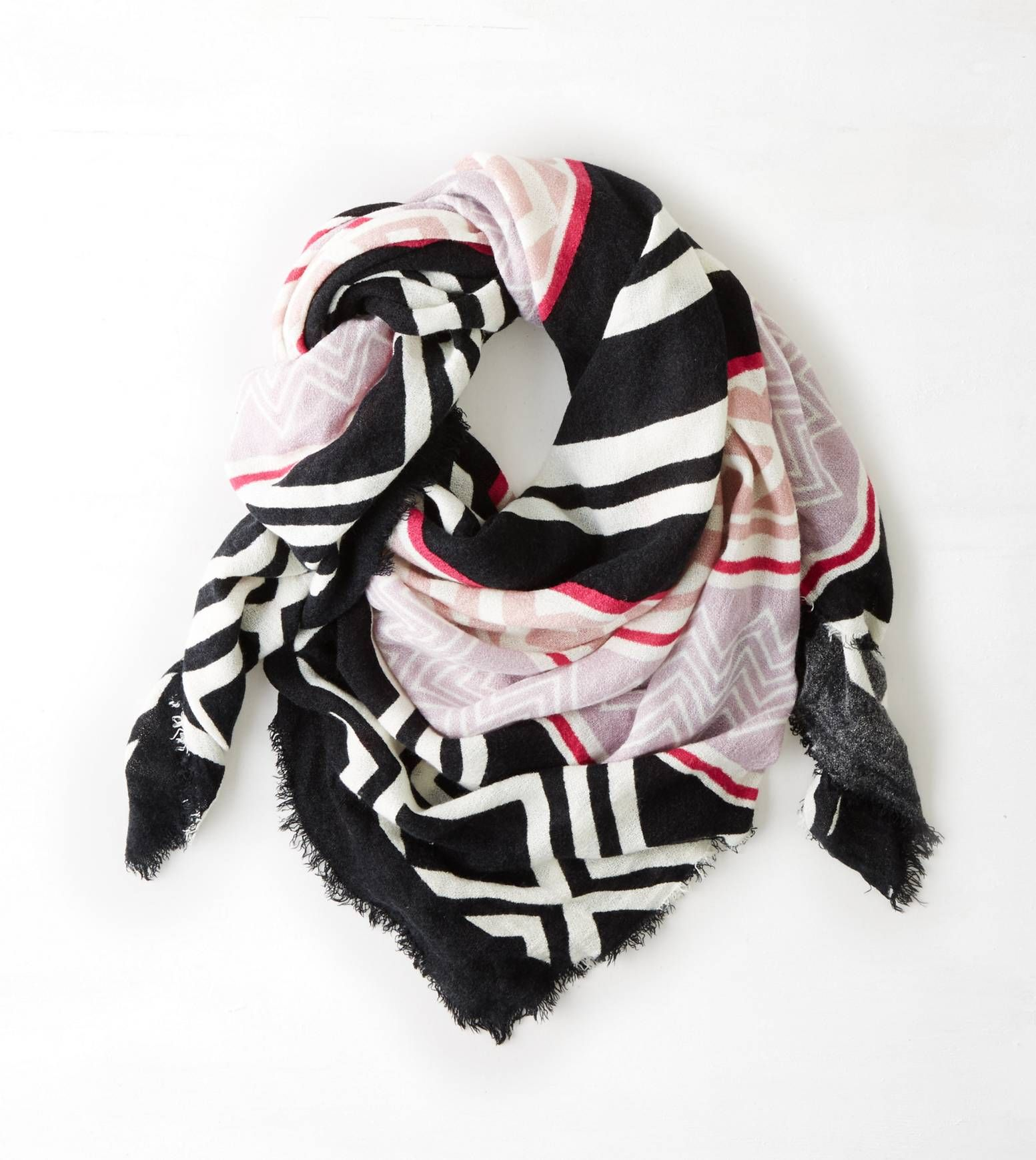 Charcoal AEO Patterned Blanket Scarf
