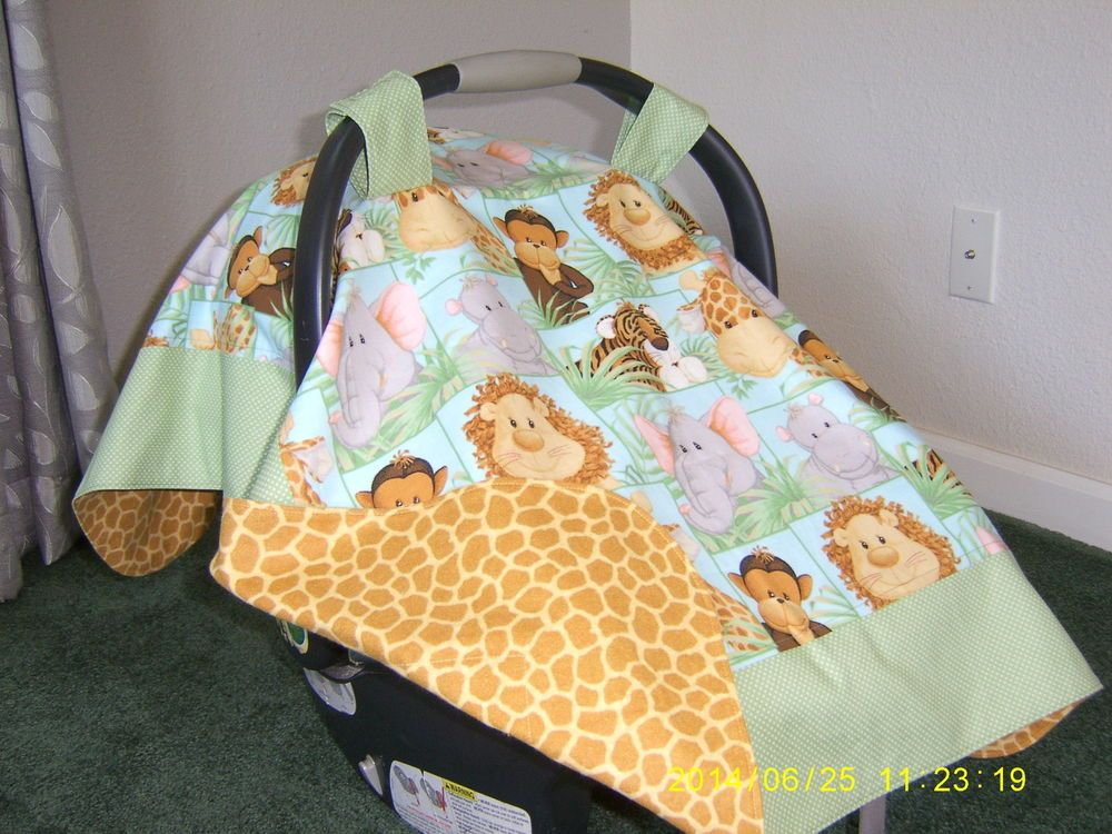 Handmade Baby Infant Car Seat Canopy-Cover Jungle Safari Baby ...