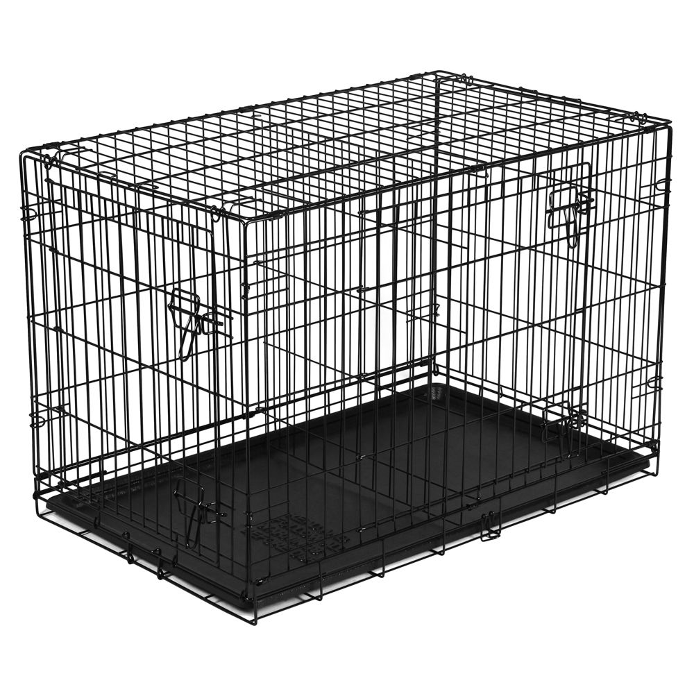 Vibrant Life Double Door Folding Wire Dog Crate With Divider 36 L Walmart Com In 2020 Folding Dog Crate Dog Crate Sizes Dog Crate