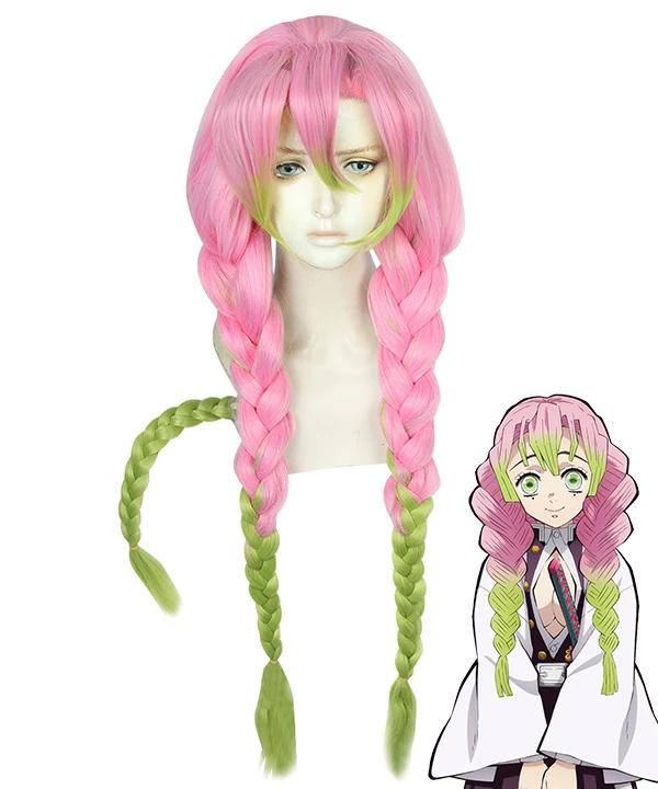 Demon Slayer Kimetsu No Yaiba Kanroji Mitsuri Pink Green Cosplay Wig In 2020 Cosplay Wigs Cosplay Pink And Green