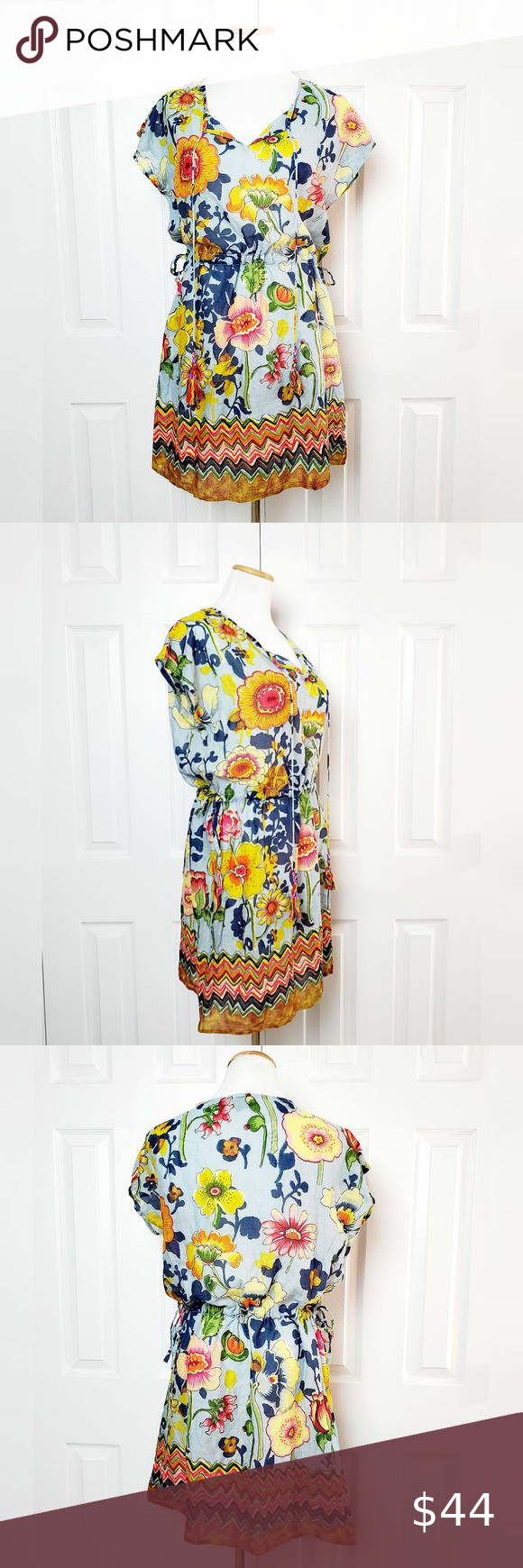 with tie and cinched waist small 70/'s women cover-up