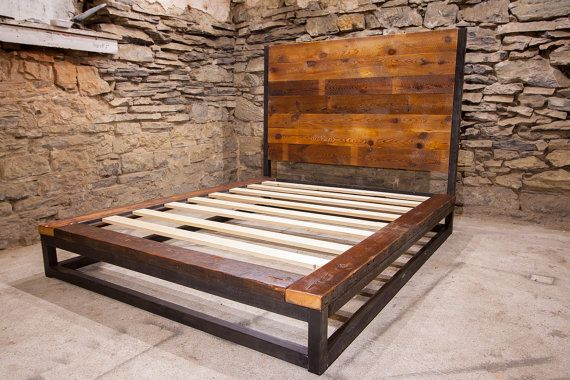 Abbey Road Industrial Platform Bed From Reclaimed Wood
