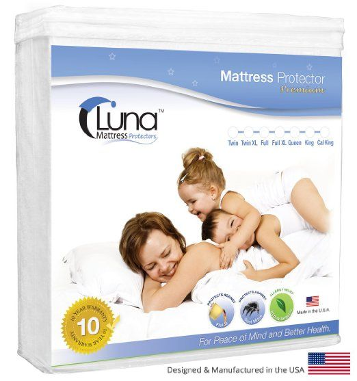 Queen Size Luna Premium Hypoallergenic 100% Waterproof Mattress Protector - Made in the USA - 10 Year Warranty
