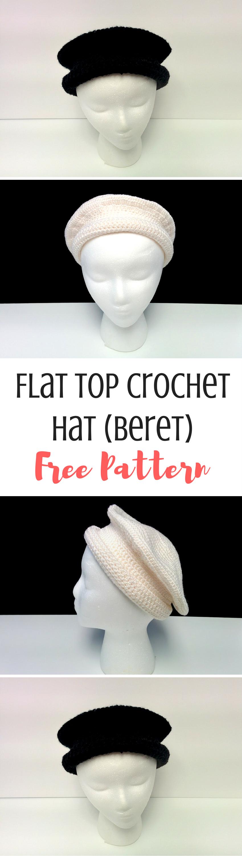 Flat Top Hat FREE Crochet Pattern   Gorros, Celta y Medieval