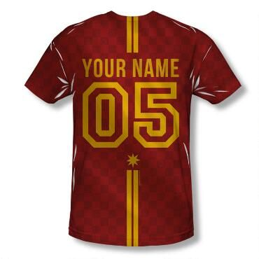 Join the team with our exclusive personalized Gryffindor crest adult Quidditch jersey style t-shirt! Select your number and then add your very own name to create a shirt that you'll treasure forever.