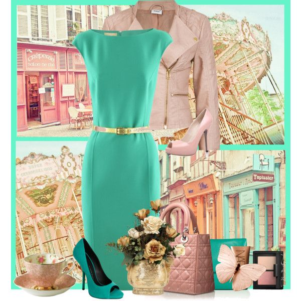 Turquesa Con Accesorios Color Palo De Rosa Outfits Ropa