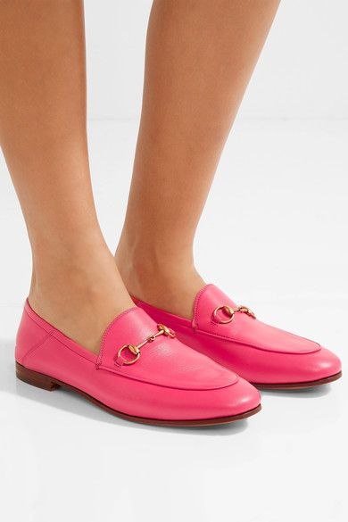 d86720da3b2 Gucci - Mocassins convertibles en cuir à mors de cheval Brixton. Heel  measures approximately 10mm  0.5 inches Fuchsia leather Slip on Made in  Italy