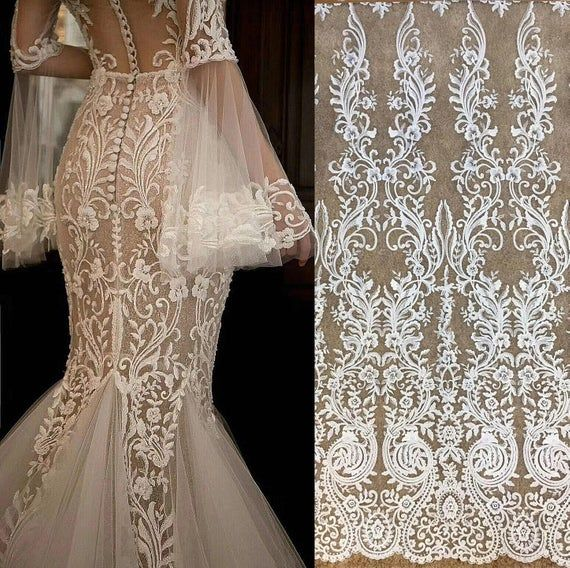 Bridal Tulle Mesh Lace Veil lace Evening Dress Lace Fabric By 1 Yard 2019 Luxury Embroidery Sequins Lace Fabric for Wedding Dress