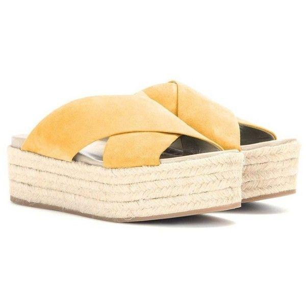 FSJ Cross Straps Sandals Espadrille Platform Slippers Middle Heels... ❤ liked on Polyvore featuring shoes, sandals, platform shoes, platform wedge sandals, platform wedge shoes, platform sandals and cross strap sandals
