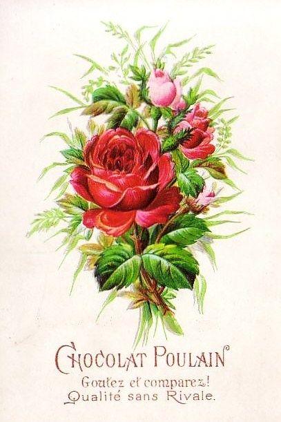 Chocolat Poulain Victorian Crafts Vintage Roses Retro Printables