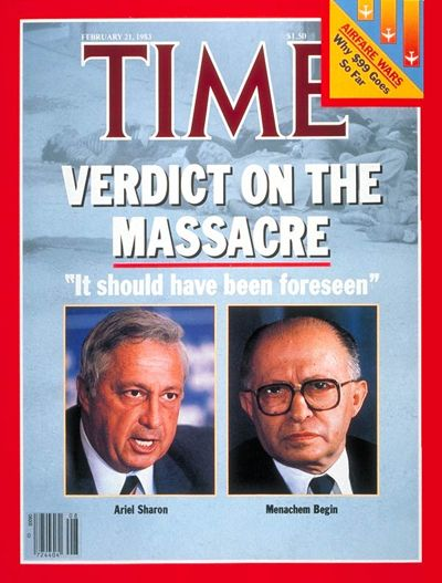 TIME Magazine Cover: Israel's Sharon and Begin - Feb. 21, 1983