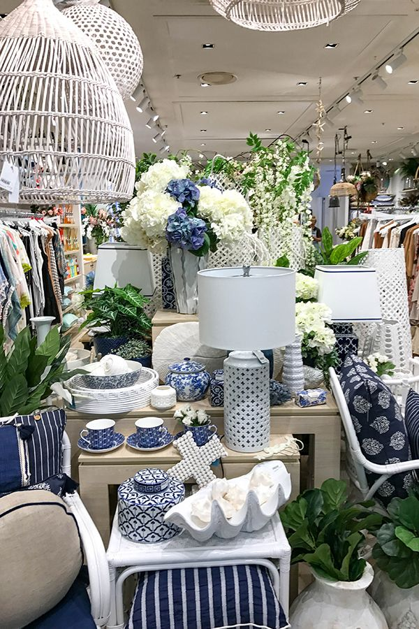Blue and white Hamptons inspired home decor and interiors