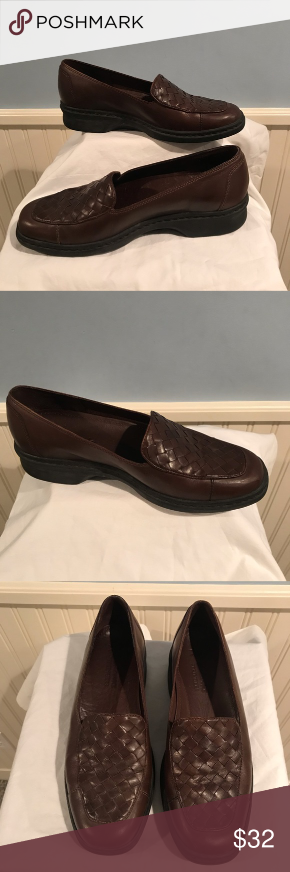 Clarks Springers Brown Woven Loafers