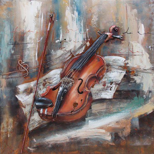 Violin Acrylic Painting Print On Metal East Urban Home Violin Art Violin Art Painting Music Metal Wall Art