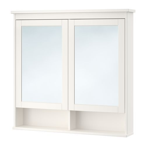 Hemnes Spiegelschrank 2 Turen Weiss Ikea Deutschland Spiegelschrank Badezimmer Spiegelschrank Und Glasschrankturen