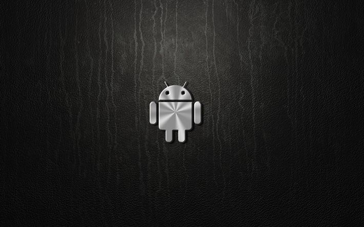 Download Wallpapers Android 4k Metal Logo Gray Background