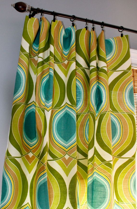 Teal Turquiose Lime Green Yellow And Ivory Geometric Curtain Panel Custom Drapery In Designer Hgtv F With Images Geometric Curtains Custom Drapery Lime Green Bathrooms