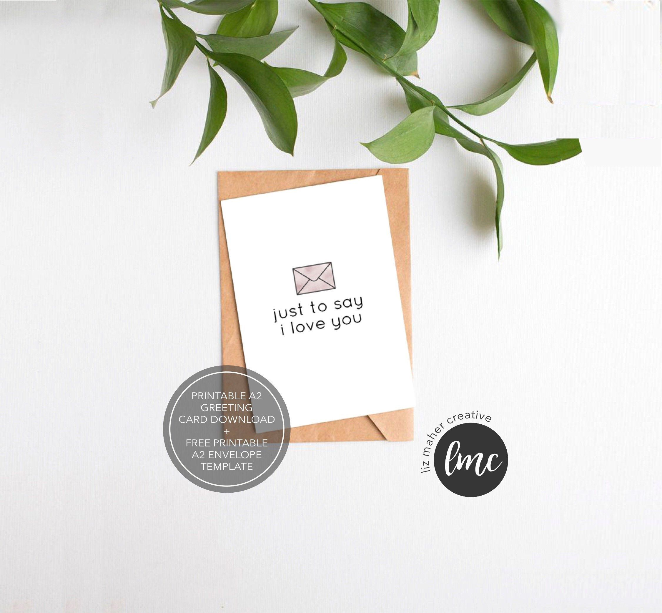 Printable I Love You Card Instant Download Just To Say Etsy Printable Thank You Cards Envelope Template Cards