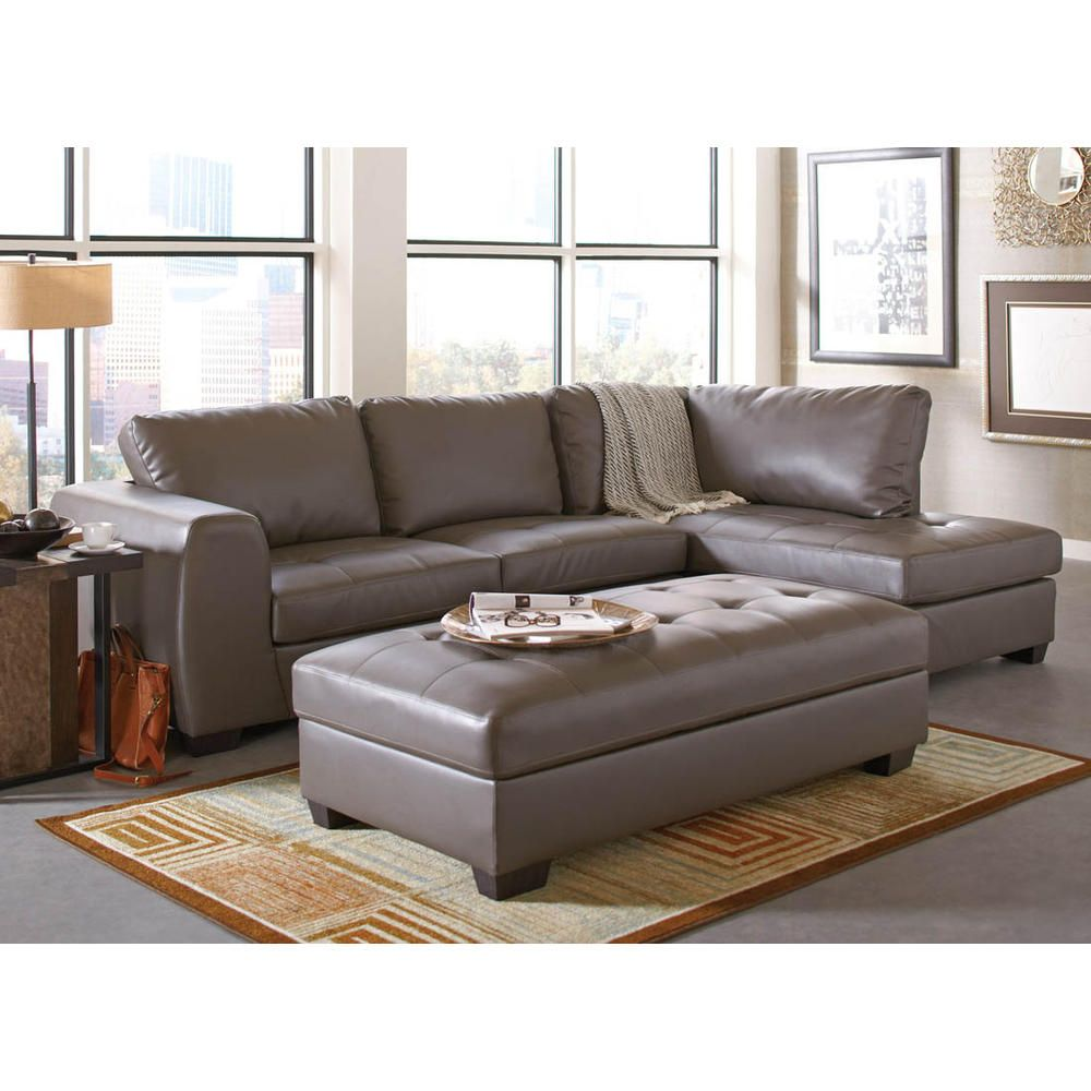 Coaster Joaquin Grey Leather Sectional Home Furniture Living