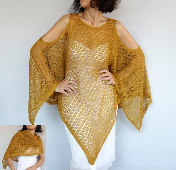 34358dca455151 Plus Size Summer Kaftan Ochre Crochet Poncho, Mustard Yellow Oversized Knit  Kimono Tunic Cover-up Ca