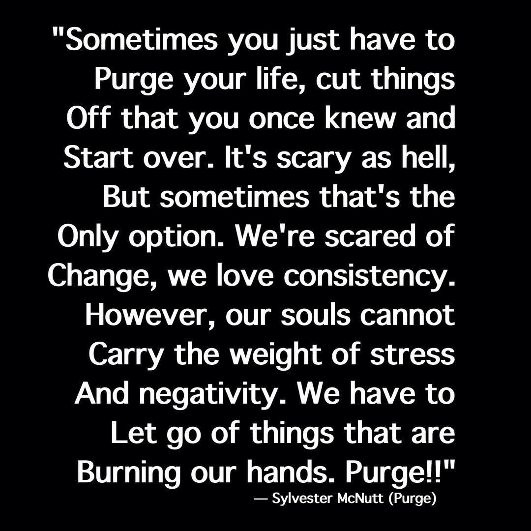 Quotes From The Purge Sometimes You Just Have To Purge Your Life  Quotes  Pinterest