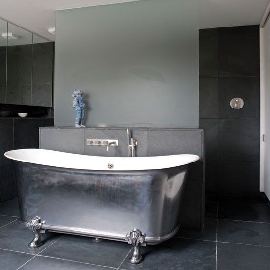 Modern Metallic Bathroom This Metallic Bath Weighs Approximately And Makes  A Dramatic Statement In This Contemporary Bathroom.